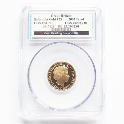 2002 QEII Gold Proof 1/4oz BRITANNIA - CGS UNC 97